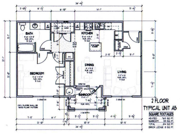 814 sq. ft. A5-50% floor plan