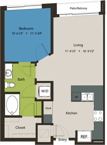 692 sq. ft. A1M floor plan