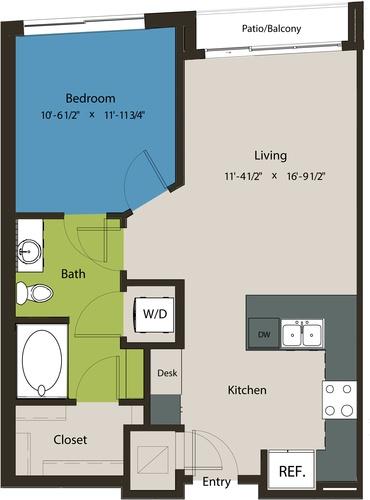 692 sq. ft. A1M floor plan