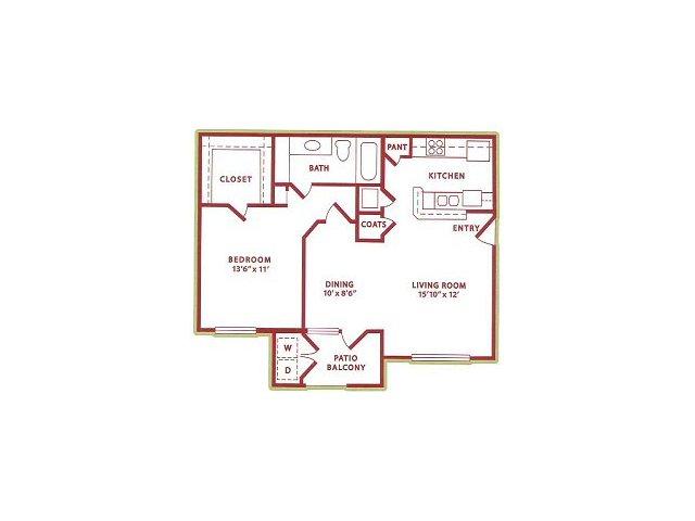 750 sq. ft. (A2) Summer floor plan