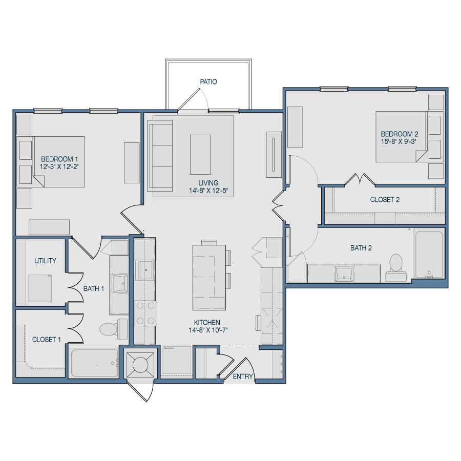1,049 sq. ft. B6 floor plan