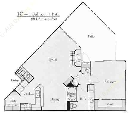 865 sq. ft. 1B floor plan