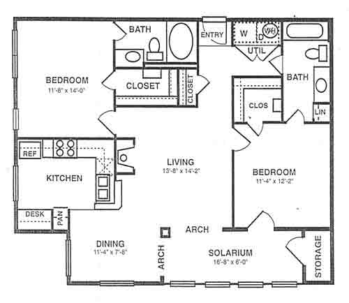 1,180 sq. ft. B3 floor plan