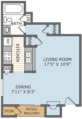 431 sq. ft. Retreat* floor plan