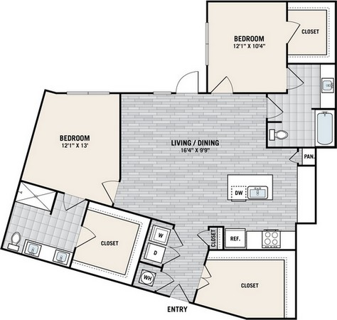1,151 sq. ft. B7A floor plan