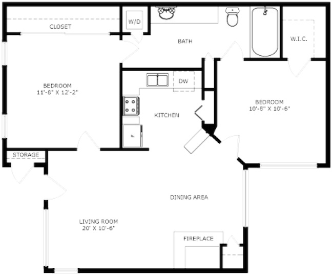 727 sq. ft. Preakness floor plan