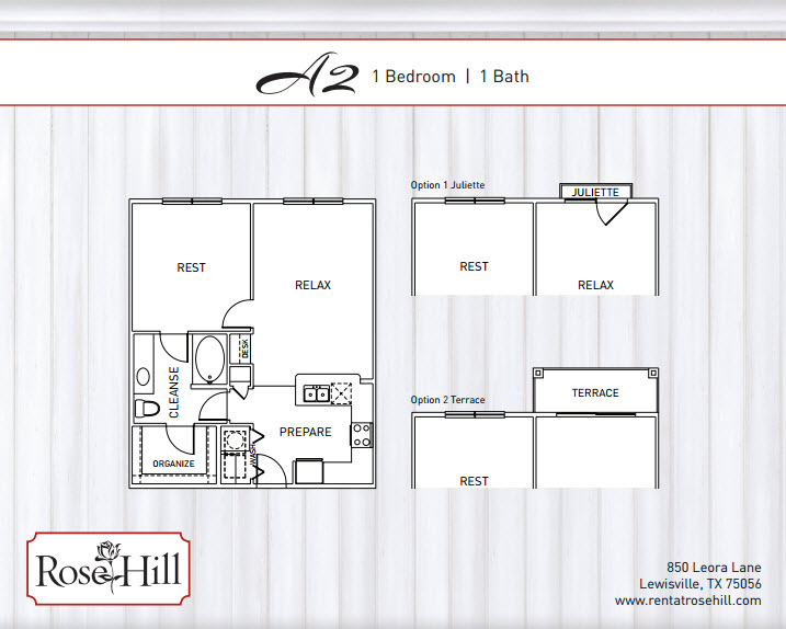 733 sq. ft. to 791 sq. ft. A2 floor plan