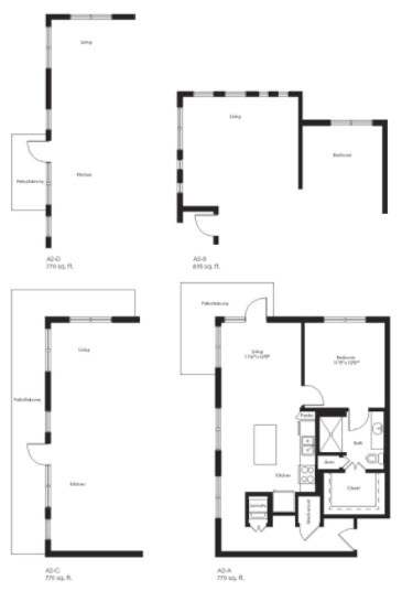 770 sq. ft. A2D floor plan