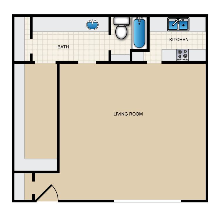 529 sq. ft. II-E1 floor plan