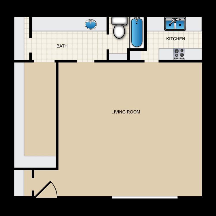 529 sq. ft. II-E1 floor plan