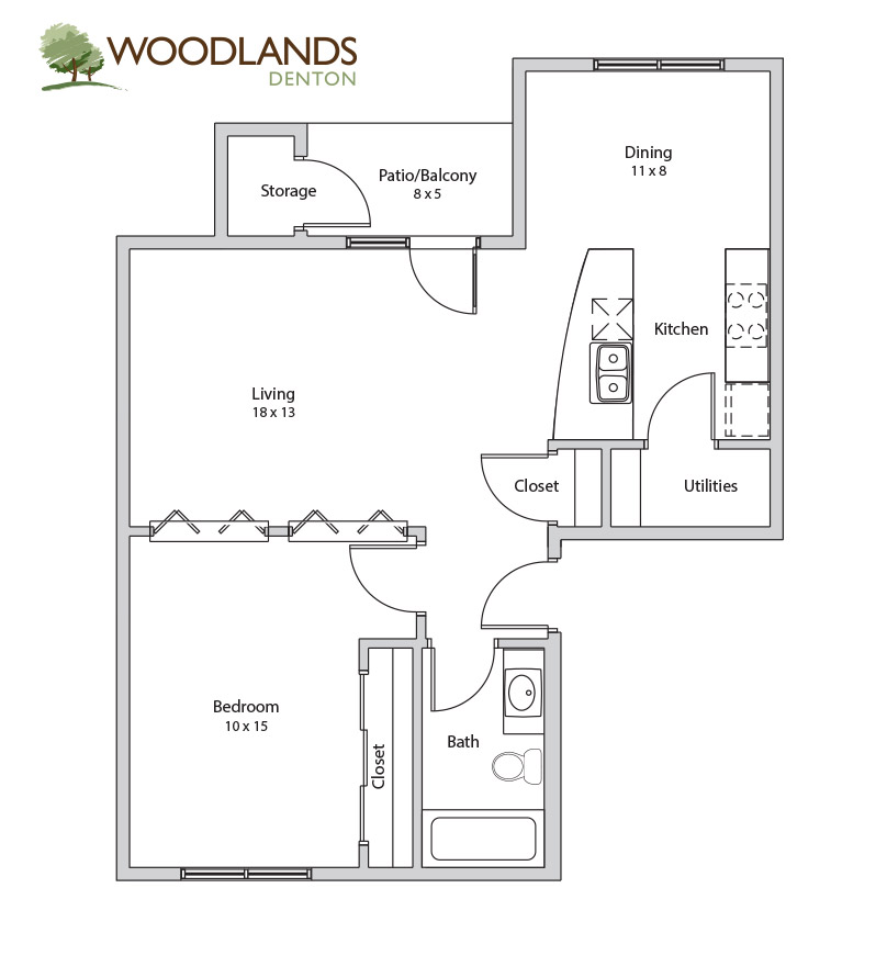 750 sq. ft. Pecan floor plan