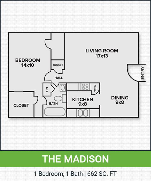 662 sq. ft. Madison floor plan