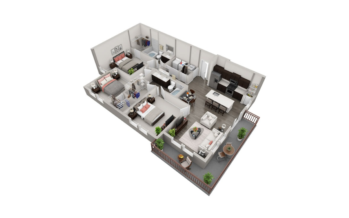 1,330 sq. ft. C1 floor plan