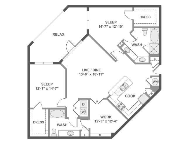 1,443 sq. ft. C8A floor plan