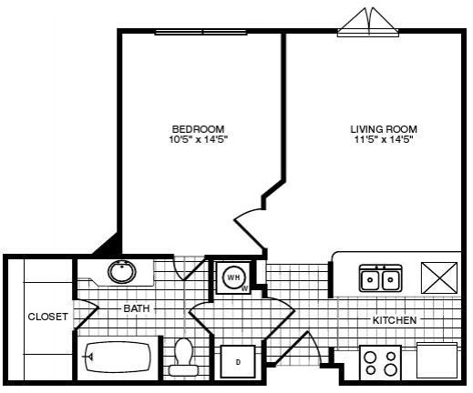 606 sq. ft. floor plan