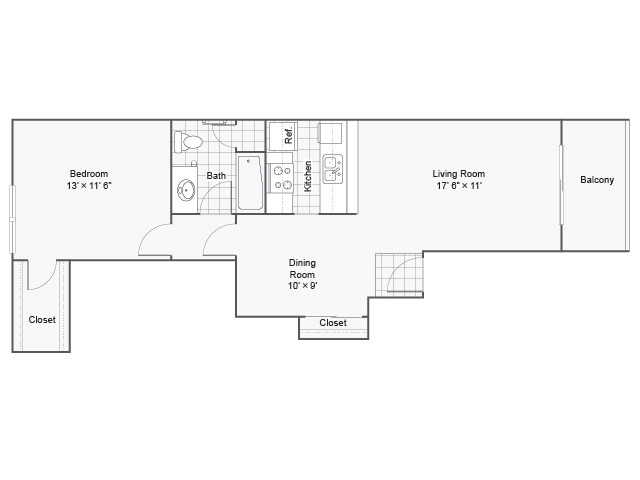 720 sq. ft. I A-4 floor plan
