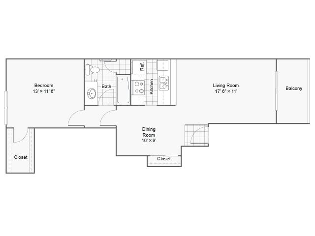 720 sq. ft. I A-4 floor plan