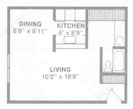 480 sq. ft. E2 floor plan
