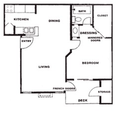 601 sq. ft. B floor plan