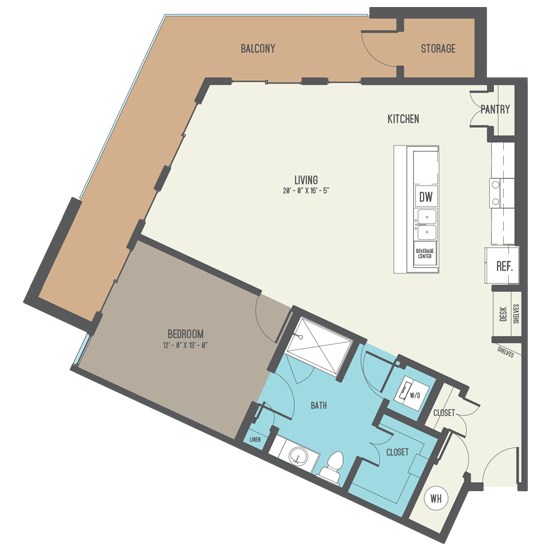 1,080 sq. ft. A11 floor plan