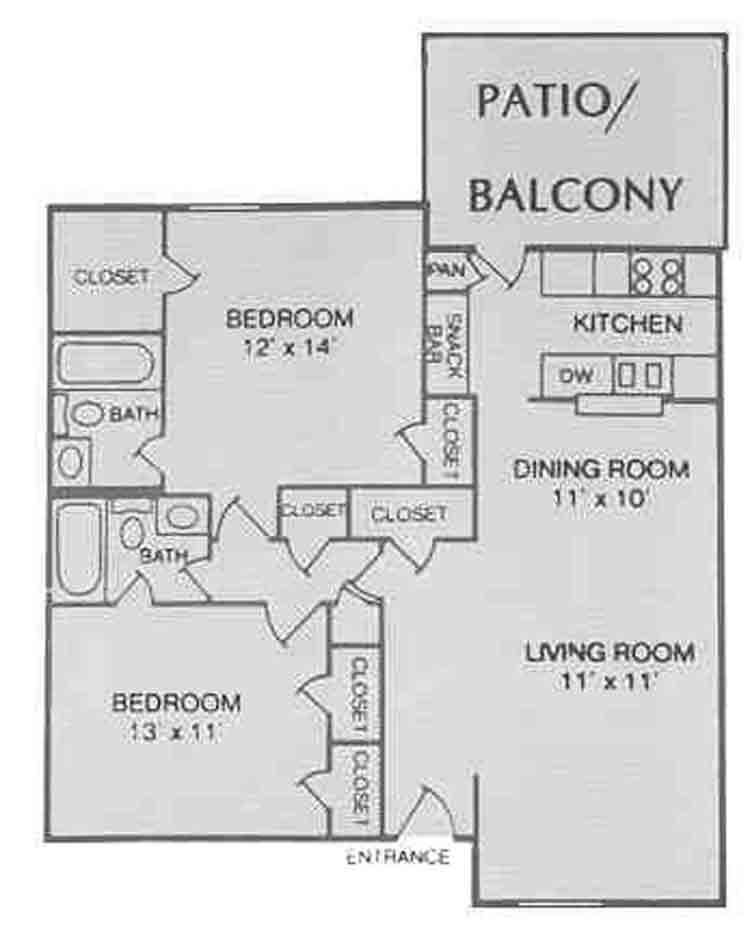 1,008 sq. ft. C-1 floor plan