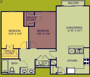 1,016 sq. ft. 2/2 Study floor plan