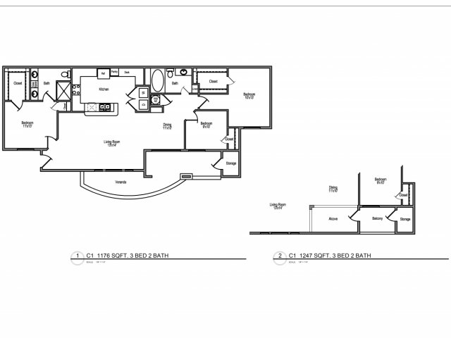 1,176 sq. ft. E2,3 floor plan