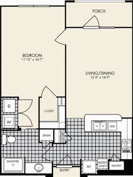 750 sq. ft. Veneto floor plan