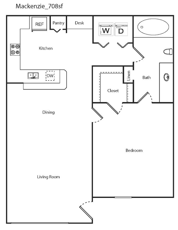 708 sq. ft. Mackenzie floor plan