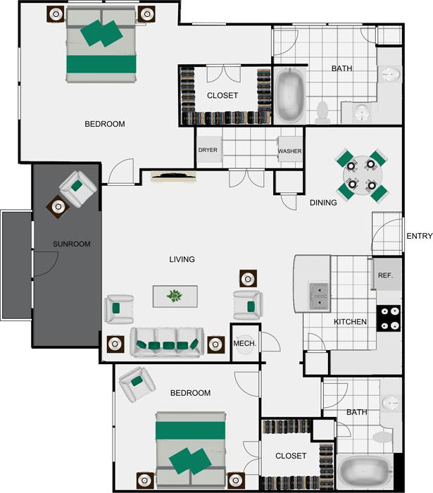 1,366 sq. ft. B8C floor plan