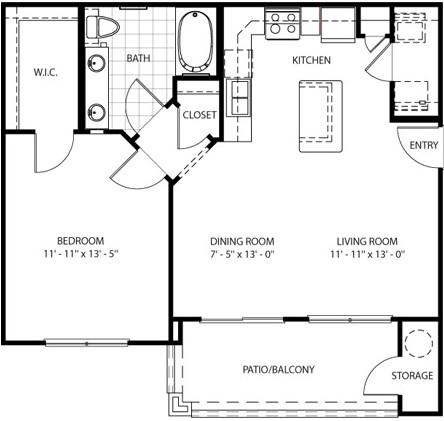 752 sq. ft. Franciscan floor plan