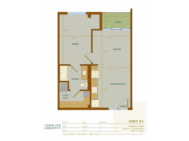 720 sq. ft. F1 floor plan