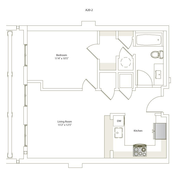 612 sq. ft. A20-2 floor plan