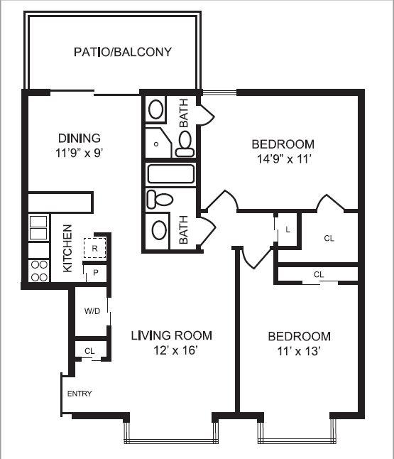 1,027 sq. ft. B1 floor plan