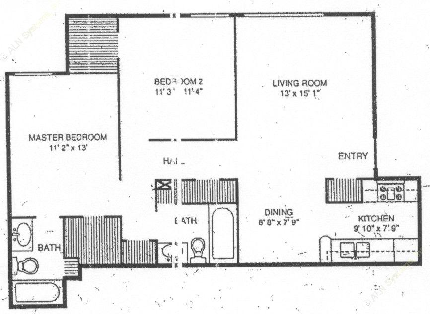 894 sq. ft. B-2 floor plan
