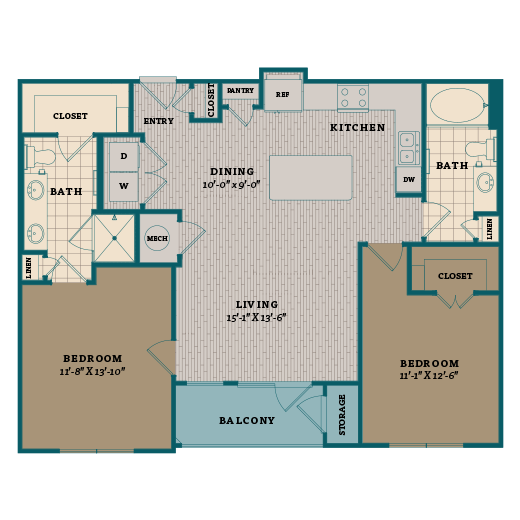 1,091 sq. ft. C1A floor plan
