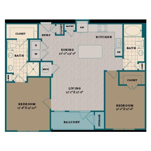 1,091 sq. ft. C1 floor plan