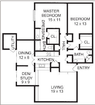 1,269 sq. ft. B10 floor plan