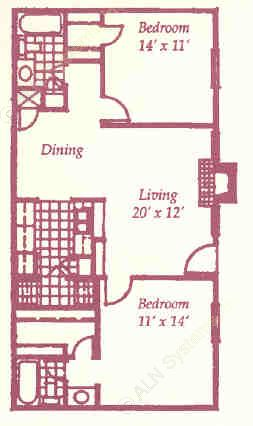 937 sq. ft. K floor plan