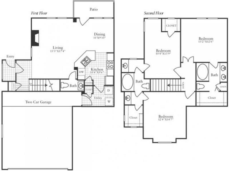 1,500 sq. ft. TH4 floor plan