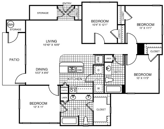 1,295 sq. ft. 50% floor plan