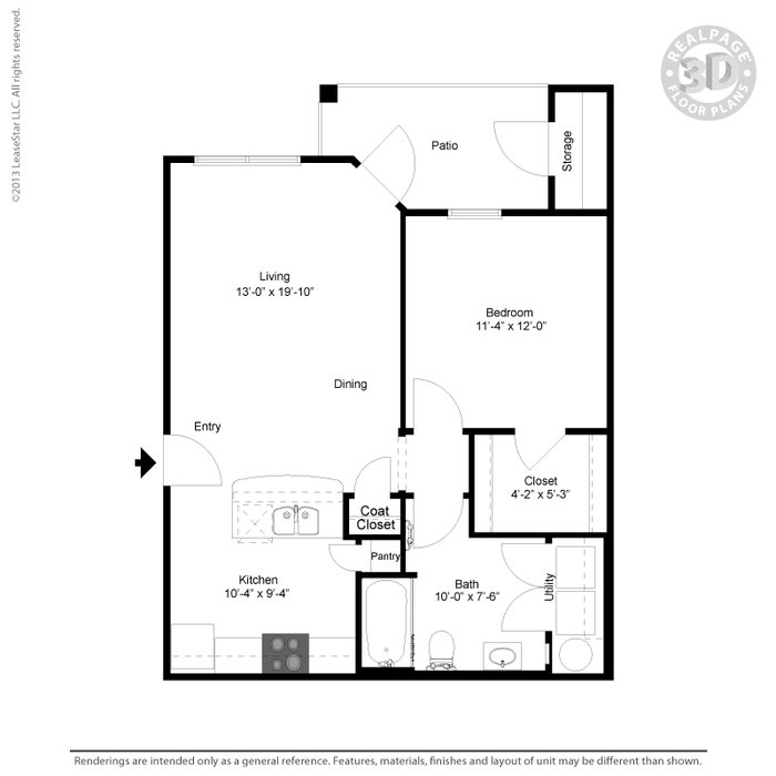 708 sq. ft. A2 floor plan