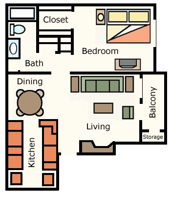 689 sq. ft. Dogwood floor plan