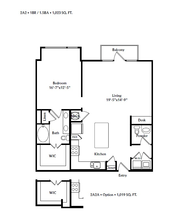 1,023 sq. ft. 2A2 floor plan