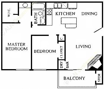 881 sq. ft. Townlet floor plan