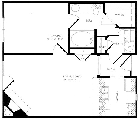 653 sq. ft. to 709 sq. ft. floor plan