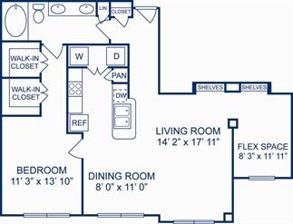 1,028 sq. ft. Pamplana floor plan