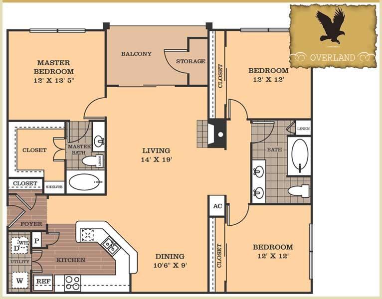 1,468 sq. ft. Overland floor plan