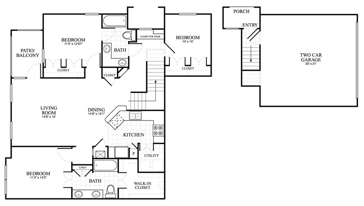 1,411 sq. ft. Berkshire floor plan