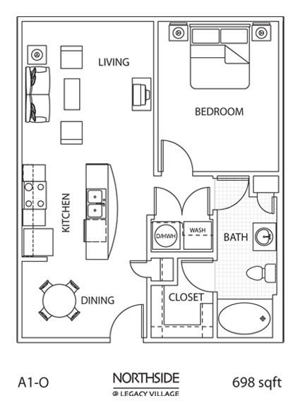 698 sq. ft. A1-0 floor plan